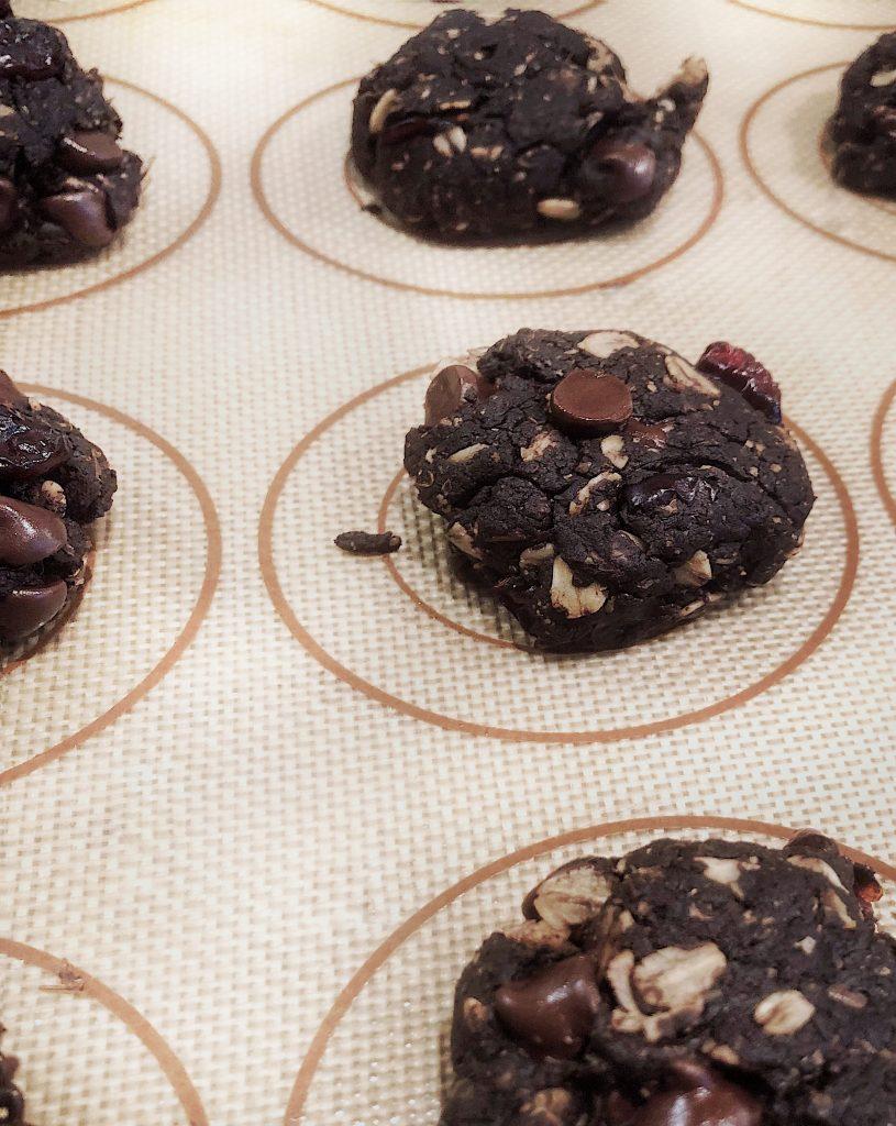 Homemade double chocolate oatmeal cookies