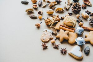 Image of holiday gingerbread cookies on a white background.