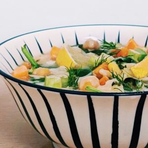 Lemon tahini chickpea soup in a bowl