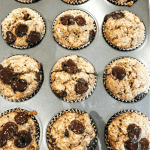 A pan of banana chocolate chip oat muffins