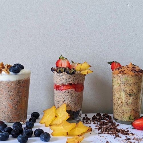 Three glasses of protein overnight oats