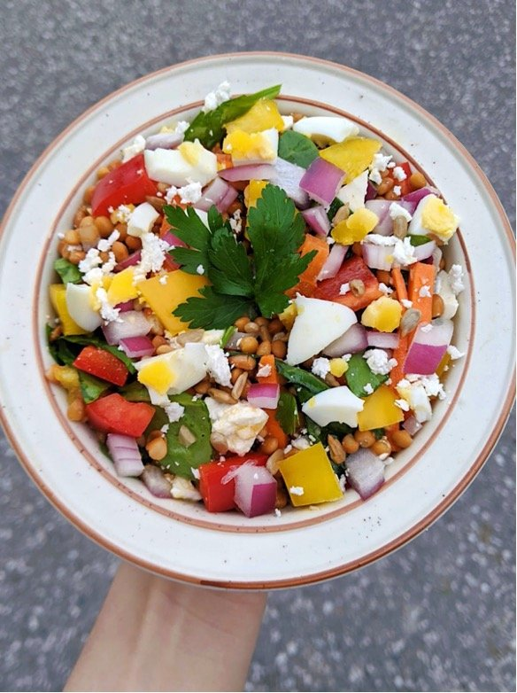 A hand holding a plate of lentil sunflower feta salad