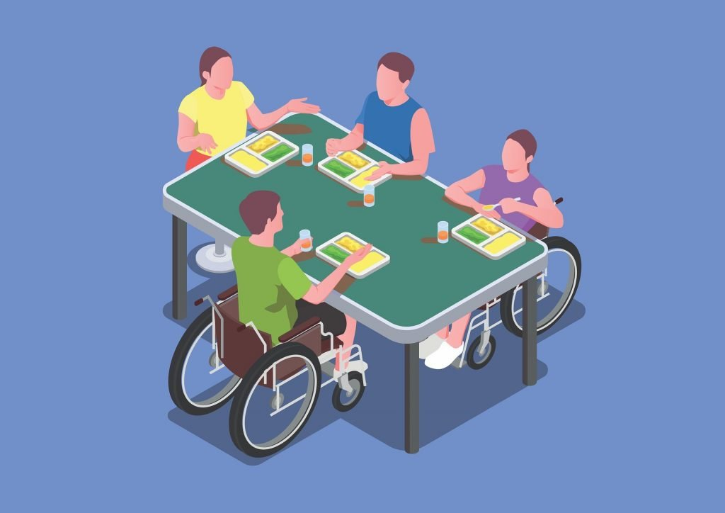 An illustration of a group of people eating together at a table