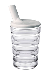 A clear grip cup with a white lid