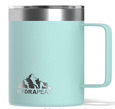 A mint green insulated mug with closed handle