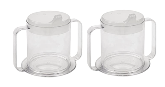 2 clear mugs with two closed handles side by side