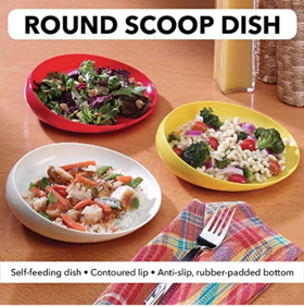 3 different types of food on red, yellow, and white round scoop dishes