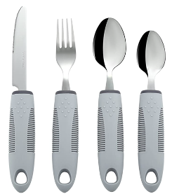 A set of 4 utensils with grey non-weighted, non-slip handles