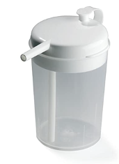 A clear cup with a white spill proof lid